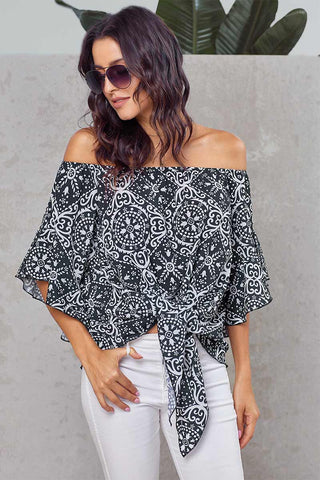 Off-the-shoulder Knot Front Blouse With Trumpet Sleeves