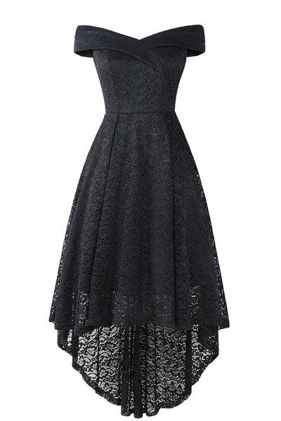 Off-the-Shoulder- V-Ausschnitt High Low Lace Abendkleid