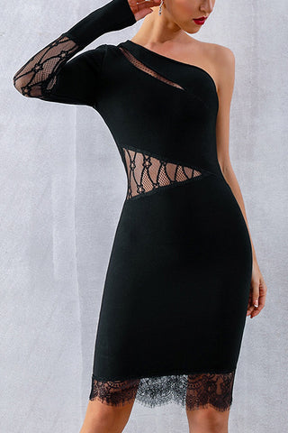 One Shoulder Mesh Insert Lace Hem Bandage Dress
