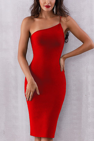 One Shoulder Zip Back Bodycon Dress