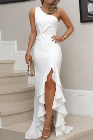 Elegant One-Shoulder Ruffles Prom Dress