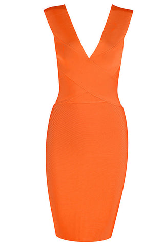 Orange Deep V-neck Sleeveless Bandage Dress