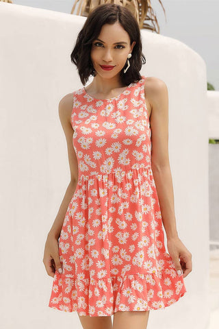 Orange Floral Print Sleeveless Ruffled Dress