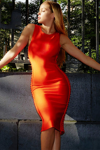 Orange Sleeveless Cut Out Bandage Dress