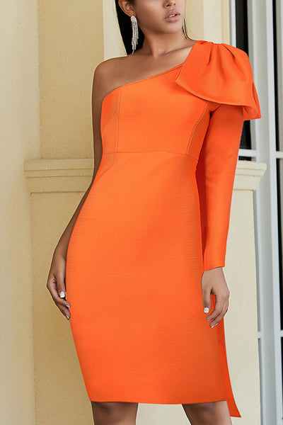Orange One Shoulder Bandage Party Dress