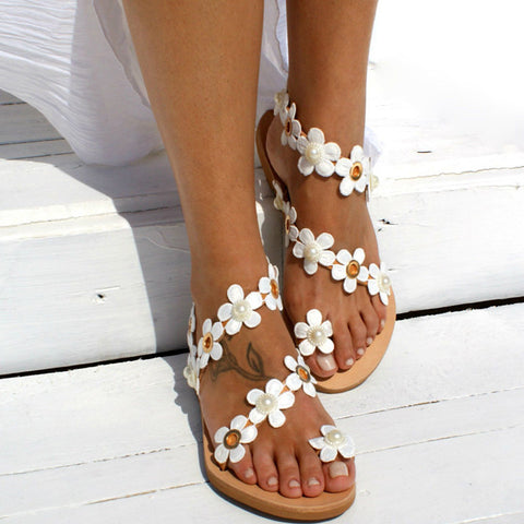 PU Flower Decor Flat Heel Sandals