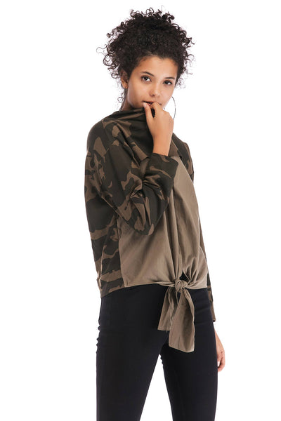 Patched Camouflage Asymmetrical Hem Sweatshirt