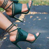 Peep Toe High Heel Lace-up Sandals
