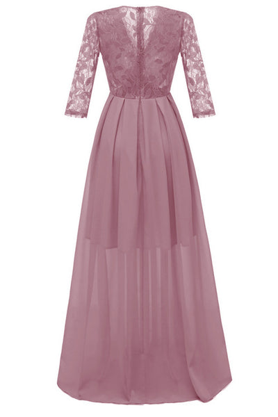 Pink A-line Lace Prom Dress With Long Sleeves