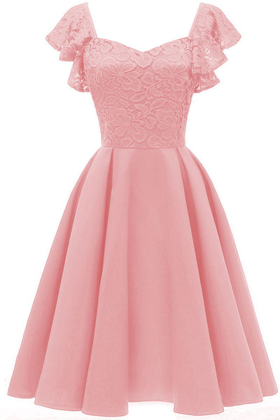 Pink Cap Sleeves Satin Heimkehr Kleid