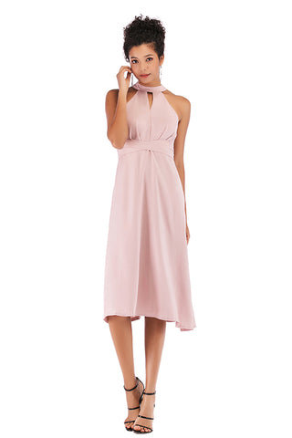 Pink Choker Neck Lace-up Chiffon Dress