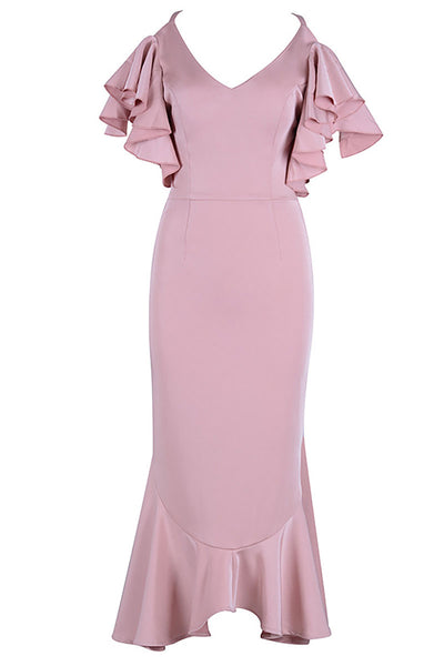 Pink Cross Back Mermaid V-neck Prom Dress