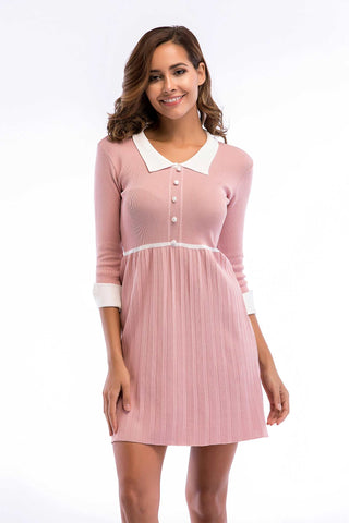 Pink Cuffed Sleeve Layered Hem Knit Dress