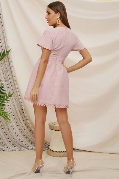 Pink Deep V-neck Lace Panel Short Dress