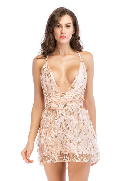 Pink Deep V-neck Lace-up Sequined Backless Mini Dress