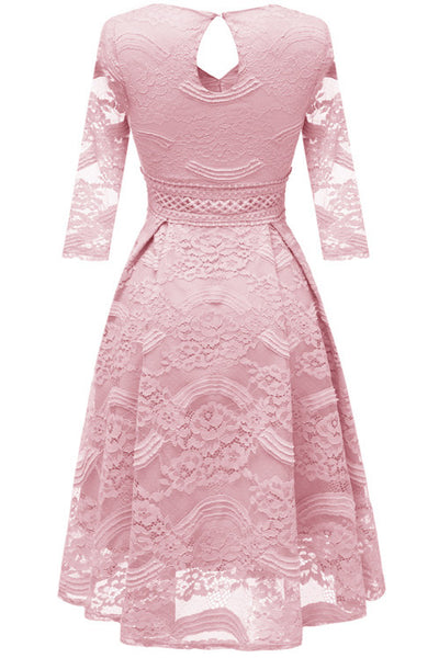 Pink Lace A-line Prom Dress With Long Sleeves