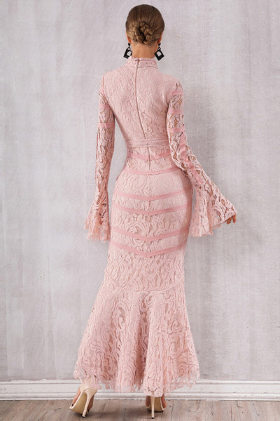 Pink Lace Patched Lace-up Mermaid Bandage Dress