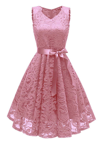 Pink Lace Short Baby Doll Prom Dress - Mislish