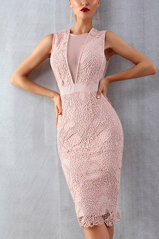 Pink Lace Sleeveless Bandage Party Dress
