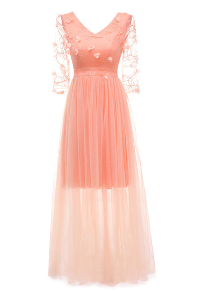 Pink Long V-neck Applique A-line Prom Dress With Sleeves