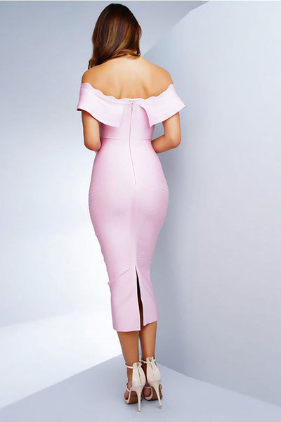 Pink Off-the-Shoulder-Bandage Abendkleid