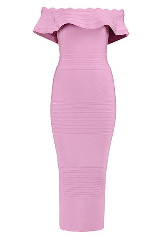 Pink Off-the-shoulder Bandage Prom Dress