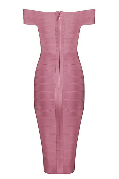 Pink Off-the-shoulder Short Bandage Dress