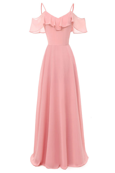 Pink Off-the-shoulder Spaghetti Straps A-line Bridesmaid Dress