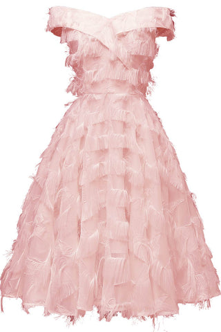 Pink Off-the-shoulder Tasseled Prom Dress