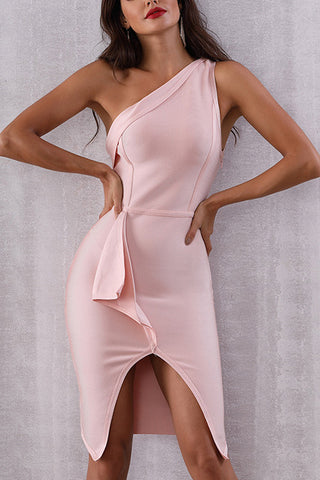 Pink One Shoulder Lace-up Sleeveless Bandage Dress
