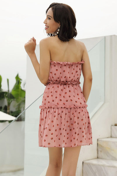 Pink Polka Dot Strapless Ruffle Hem Chiffon Dress