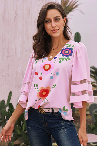 Pink Printed V-neck Blouse With Trumpet Sleeves