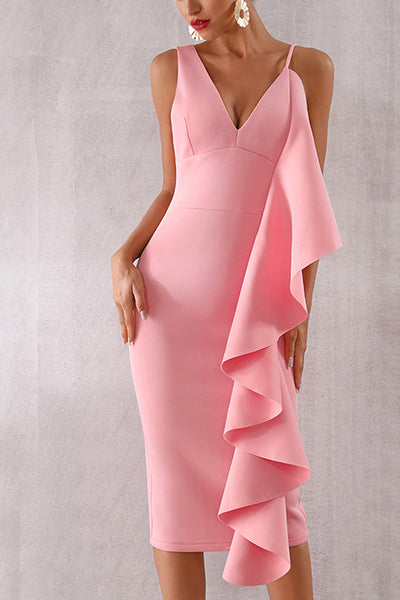 Pink Ruffle Trim Sleeveless Bodycon Party Dress