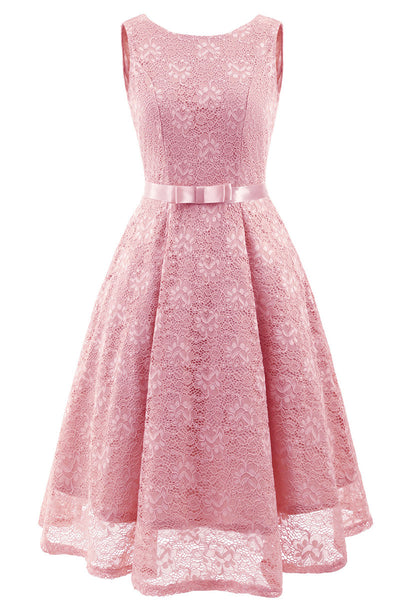 Pink Sleeveless A-line Princess Prom Dress