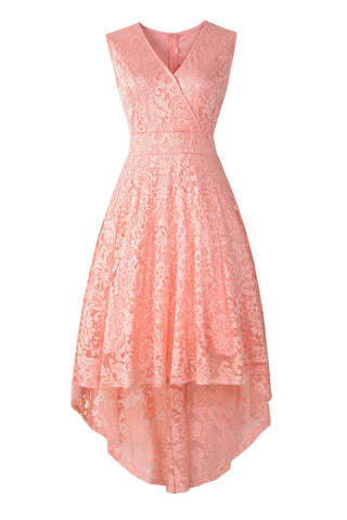 Pink V Neck Sleeveless High Low Lace Cocktail Dress
