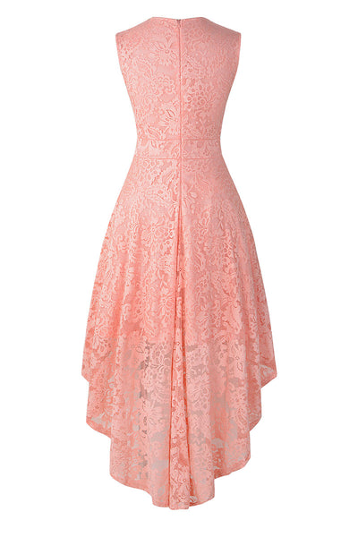 Rosa V-Ausschnitt ärmelloses High Low Lace Cocktailkleid