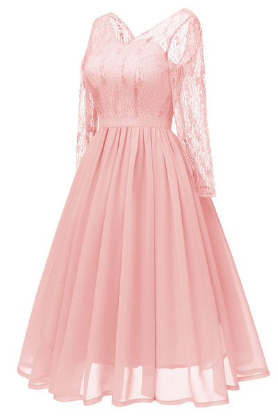 Pink V-neck Lace A-line Prom Dress With Long Sleeves