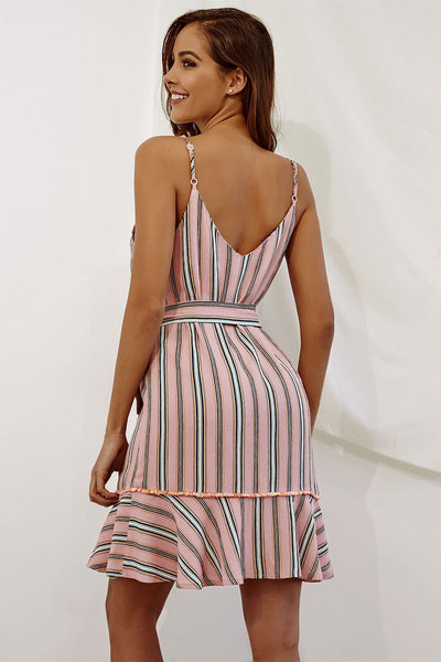 Pink Vertical Striped Ruffle Trim Belted Dress