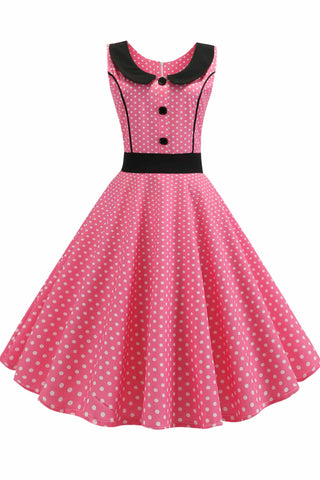 Pink Polka Dot Babydoll Button A-line Dress