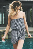 Plaid Strapless Open Back Romper
