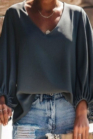 productos / Plain_V-neck_Chiffon_Blouse_With_Lantern_Sleeves_6.jpg