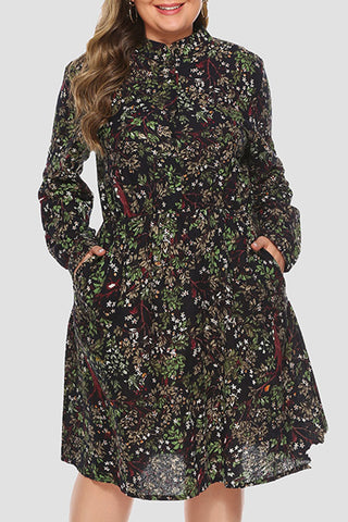 Floral Pockets Plus Size Dress
