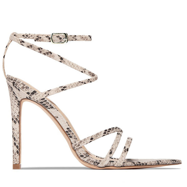 Pointed Toe Platform Serpentine Print Crisscross Sandals