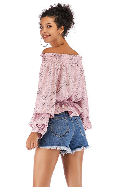 Polka Dot Puff Sleeve Off-the-shoulder Ruffled Blouse