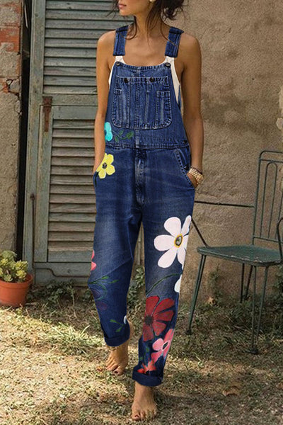 Printed Pockets Denim Jumpsuit