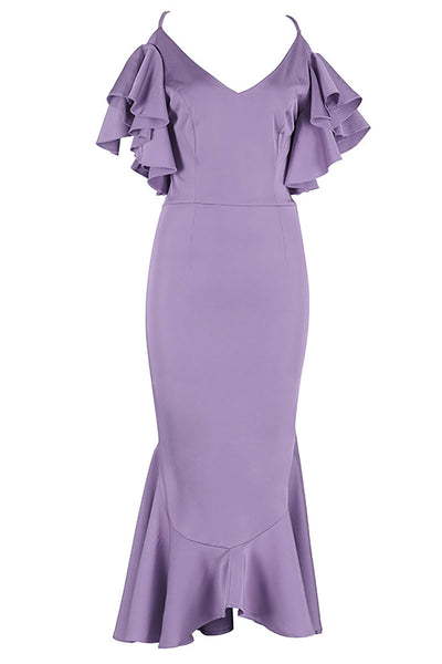 Purple Cross Back Mermaid V-neck Prom Dress