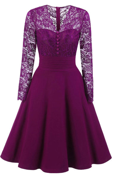 Purple Lace A-line Prom Dress With Sleeves - Mislish