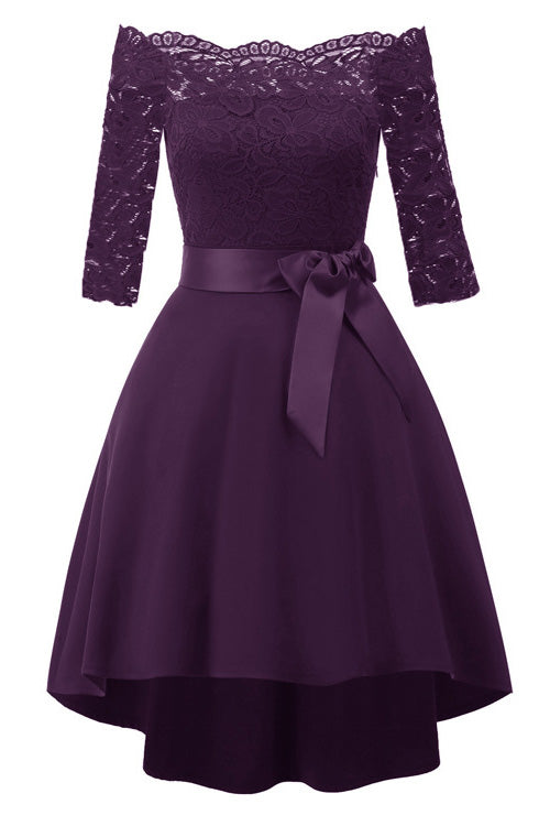 One Shoulder High Low Prom Dress Purple