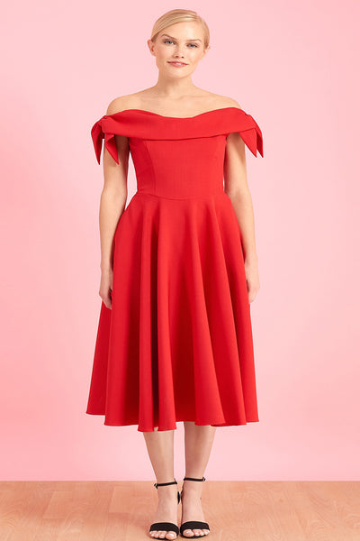 Rotes schulterfreies Cocktailkleid in A-Linie