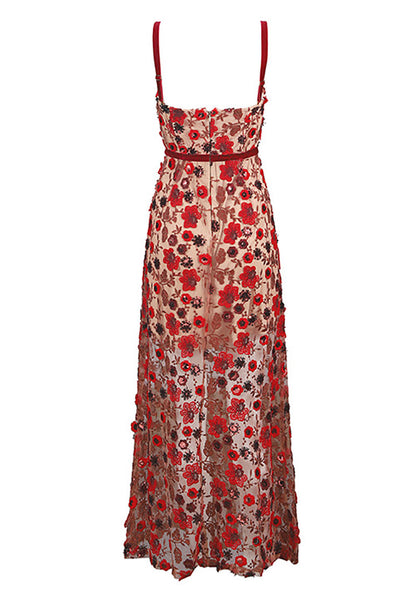 Red Applique See-through Maxi Dress